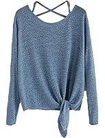 Vitans Women Drop Shoulder Criss Cross Tie Front T-Shirt (Blue, One Size).