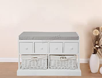 FoxHunter Wooden Shoe Storage Bench Seat 2 Wicker Basket Cabinet 4 Drawers  White Cushion Home Furniture