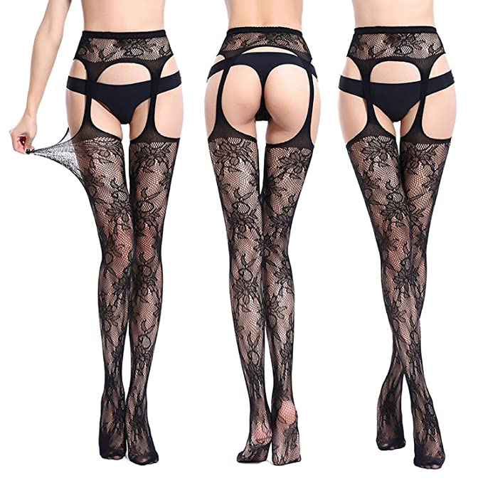 Open Crotch Tights Lacesexy Hosiery Women Thigh High Fishnet Embroidery Transparent, 6050, One Size at Amazon Womens Clothing store: