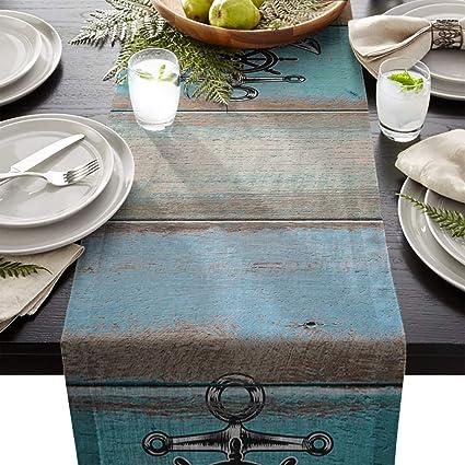 dae23ecbbe98 Amazon.com  BoloHome Cotton Linen Burlap Table Runners 18x72inch ...