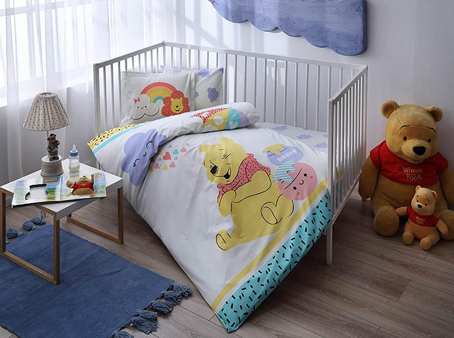 100% Organic Cotton Soft and Healthy Baby Crib Bed Duvet Cover Set 4 Pieces, Winnie The Pooh Hunny Baby Bedding Set TAC