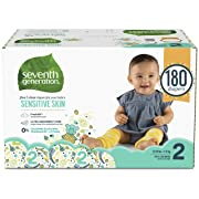 Seventh Generation Baby Diapers for Sensitive Skin, Animal Prints, Size 2, 180 count (Packaging May Vary)