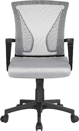 Yaheetech Fauteuil de Bureau Maille Chaise Ordinateur à roulettes Ergonomique Pivotant Inclinable Siège et Base Plus Large Hauteur Réglable avec