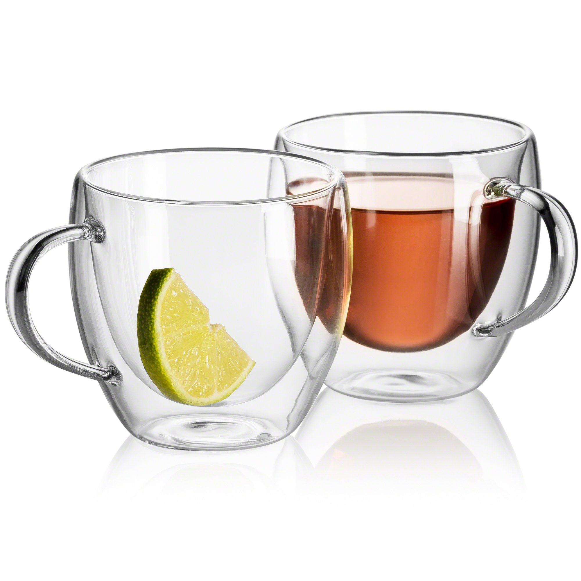 Tea Cups - Double Walled Insulated Glass Set of 2, 8 oz, Glass Coffee Cup,Dishwasher. Microwave, freezer with NO RISK.