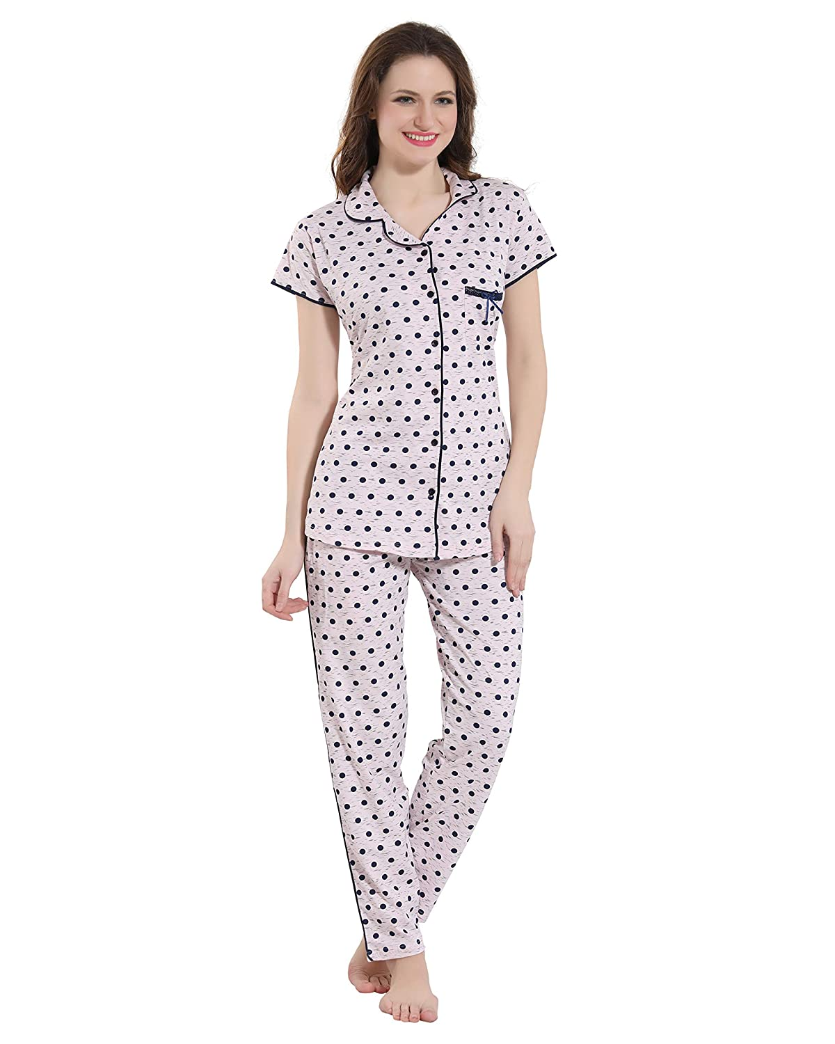eaa045e1e3 Kayimi Women s Cotton Printed Front Open Flannel Night Suit  Amazon.in   Clothing   Accessories