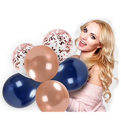 Metallic Rose Gold Navy Blue Balloons 12 Inches Thick Latex Balloon Rose Gold Confetti Balloons 44 Pack Wedding Bridal Shower Party Decorations for Birthday Baby Shower Party Bachelorette Engagement Graduation Party Supplies: