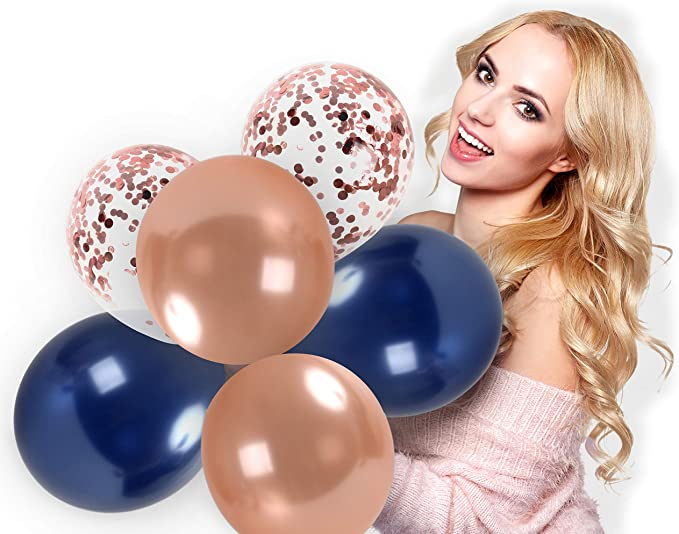 Thomtery Rose Gold Blue Balloons Birthday Party Decorations 50 pcs 12 Inches Navy Blue and Gold Metallic Balloons with Rose Gold Ribbon for Wedding