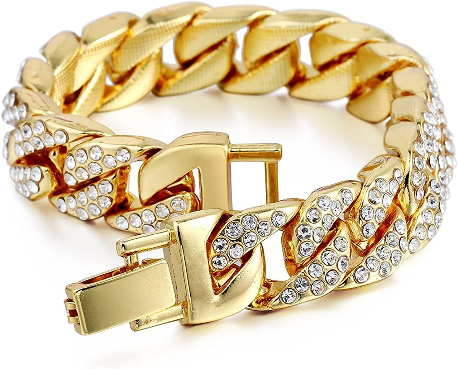 Aiyo Nice Mens Womens Cuban Link Bracelet Hip Hop Bracelet Stainless Steel Chain Bracelet Iced Out Curb Cuban 18k Gold Plated Bracelet with Clear Rhinestones