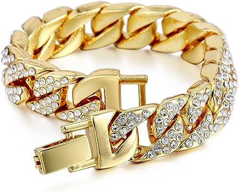 Aiyo - Pulsera de eslabones cubanos para Hombre y Mujer, de Acero Inoxidable, con Cadena de eslabones de Estilo Cubano de 18 Quilates, con Diamantes de imitación Transparentes: Amazon.es: Joyería