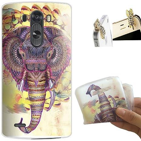 LG G3 Funda, SupremeELE Flexible Suave TPU Carcasa Gel Protector Trasero Piel Silicona Case Cover para LG G3 D855 D850 5.5 inches (nariz de elefante) ...