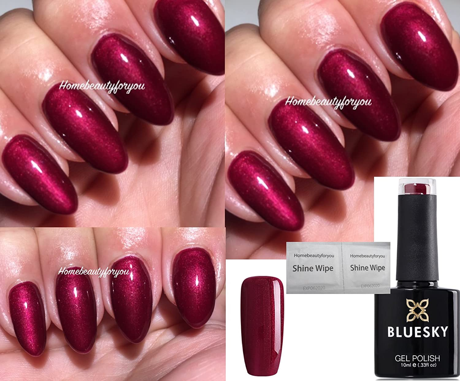 Bluesky 80515 Masquerade Dark Cherry Burgundy Red Nail Gel Polish UV ...