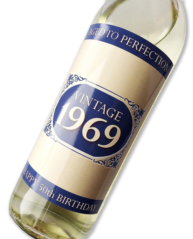 Purpleproducts 1969Vintage Bleu Happy 50e Anniversaire 2019étiquette de Bouteille de vin Cadeau pour Homme et Femme