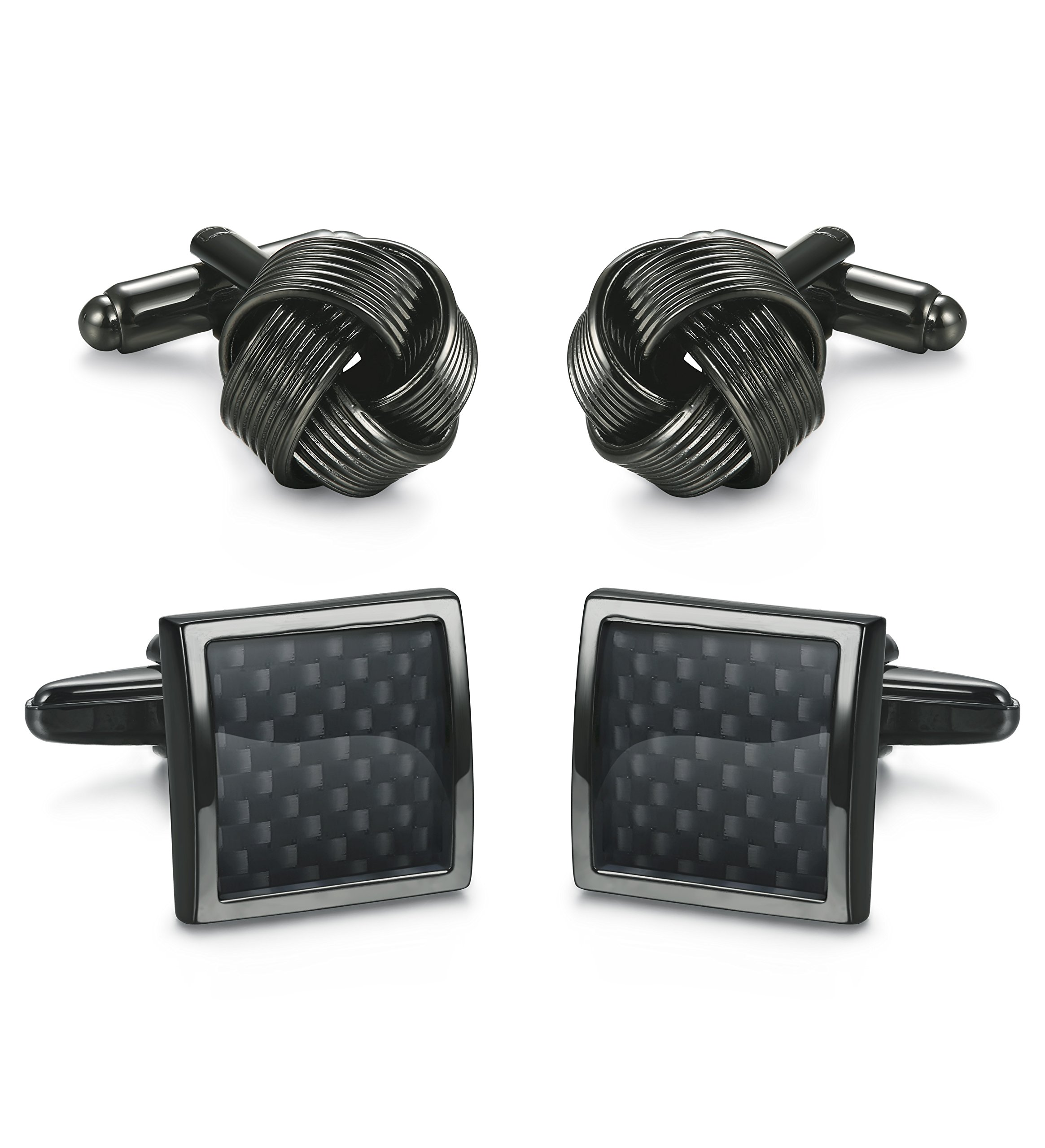 ORAZIO 2 Pairs Mens Classic Cufflinks Men Unique Black Cufflinks for Men Business or Wedding Shirts