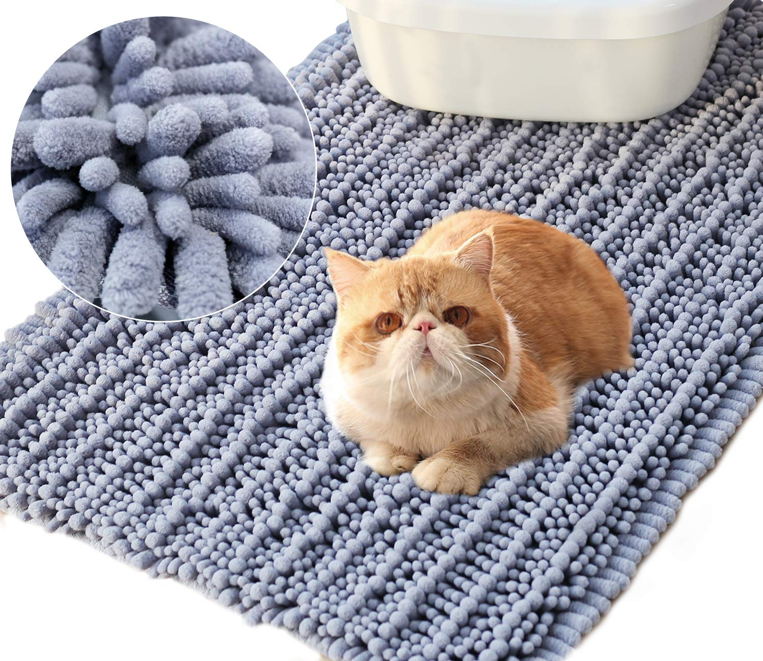 Vivaglory 35½ x 23¾inch Large Washable Cat Litter Mat,3D Design Microfiber Litter Trap Mat, Soft on Sensitive Paws,Ultra Absorbent and Waterproof, Grey by Vivaglory