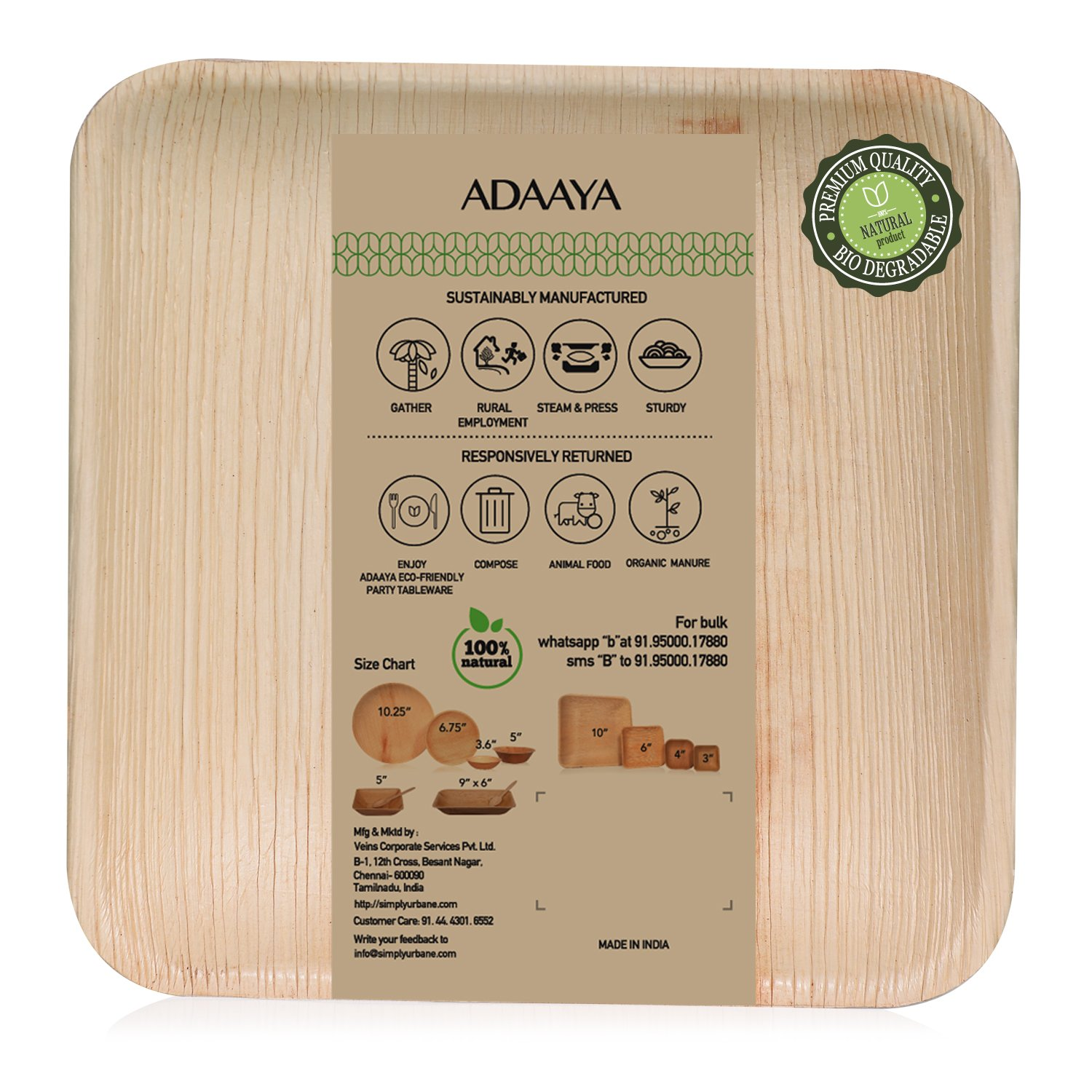 Disposable Plates Made of Palm Leaf: Heavy Duty & Eco - Better Than Wood & Bamboo- Square Shape (6'' Square Plate - 25 Pcs, Peach to tan)