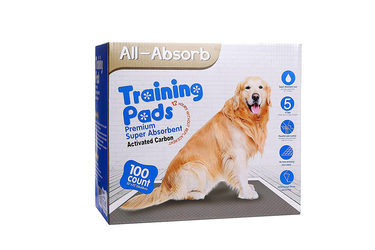 All-Absorb Premium Training Pads, Activated Carbon, 22-in by 23 , 100Count
