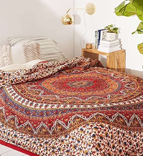 Brown Red Peacock Art Indian Queen Mandala Bedspread Hippie Gypsy Bed sheet Cotton Throw Bohemian Table Cloth Decor Size 85 x 85 Inches