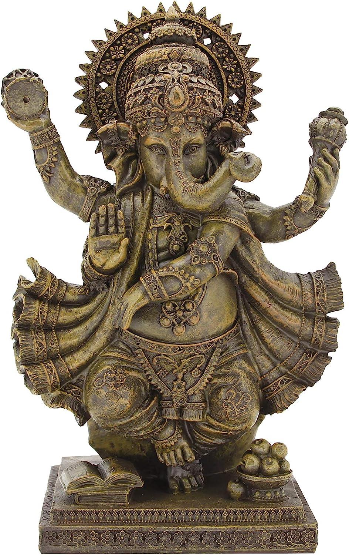 Leekung Ganesha Statue Home Decoration,Elephant God Ganesh Statues in Antique Finish, Hindu Ganesha Figurine Meditation Decor 14'inch