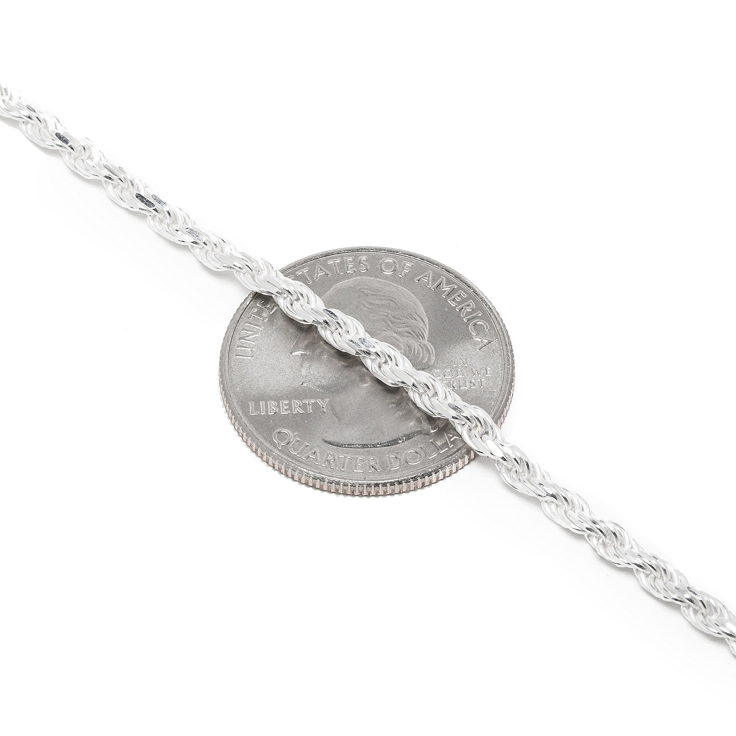 925 Sterling Silver 3MM Rope Chain Lobster Claw Clasp - 24'' by Designer Sterling Silver (Image #4)