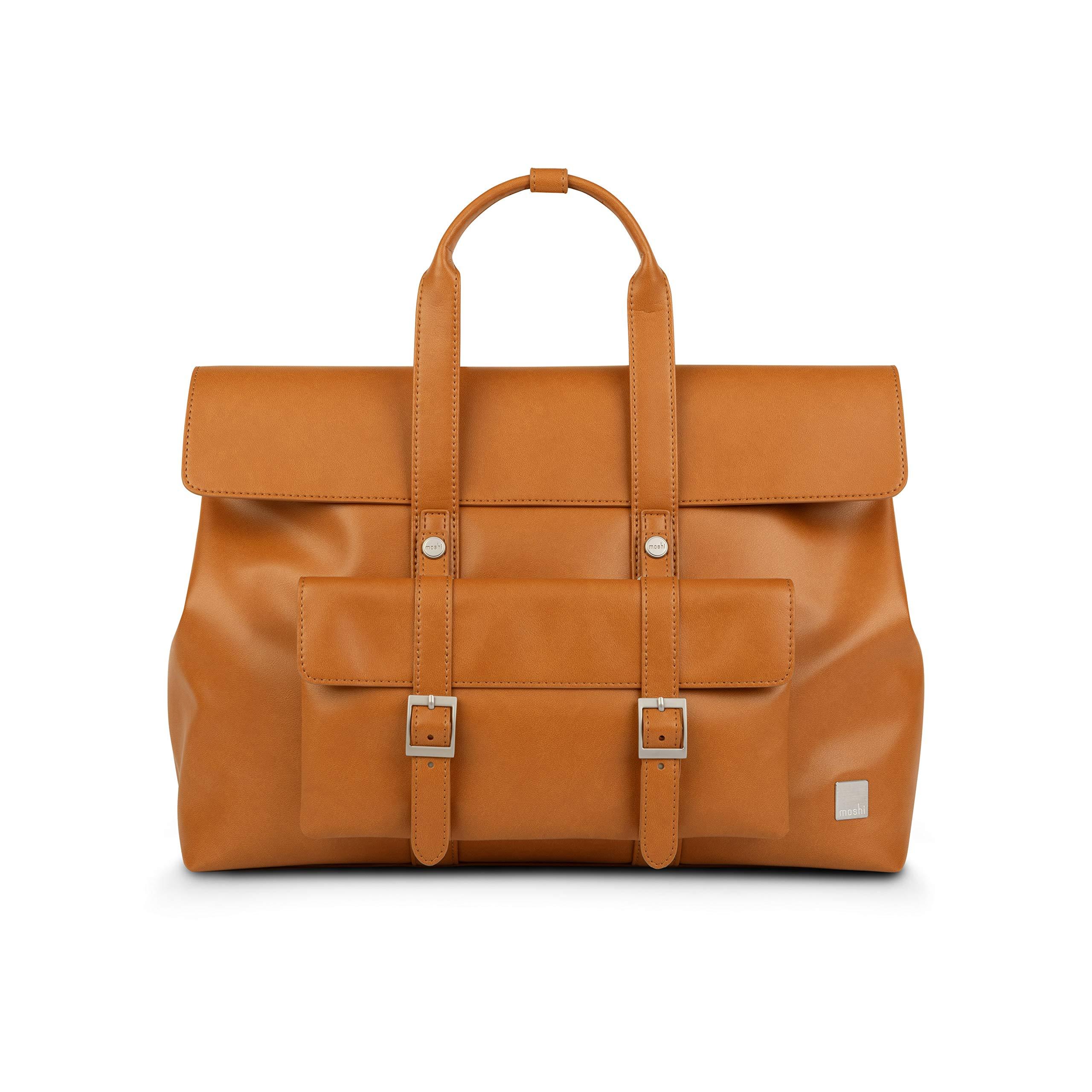 "Moshi Treya lite 13"" Notebook Laptop Briefcase, Backpack, MacBook Satchel, Premium Vegan Leather Bag - Brown"