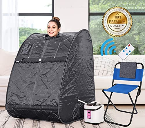 Himimi 2L Foldable Steam Sauna Portable Indoor Home Spa Weight Loss Detox with Chair Remote Gray-