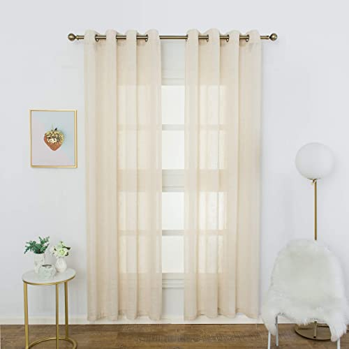 Aquazolax Semi Sheer Curtain Panels Linen Window Treatment Grommet Top Premium Office Living Room Curtains 95 inches Long, Set of 2, Beige