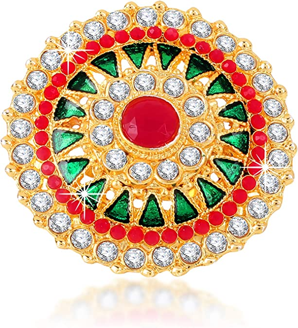 Indian Jewelry Gold Polished Fashion Rings Kundan Adjustable Rings Multi Colored