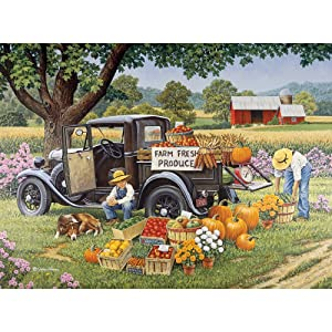 Bits and Pieces - 1000 Piece Jigsaw Puzzle for Adults - Home Grown - 1000 pc Fall on The Farm Jigsaw by Artist John Sloane