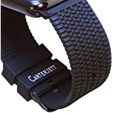 Apple Watch Band, 42mm Black Silicone Tire Tread Design with Space Black Adapters and Classic Buckle for all Apple Iwatch Sport Stainless Steel and Edition Models by Carterjett Ltd