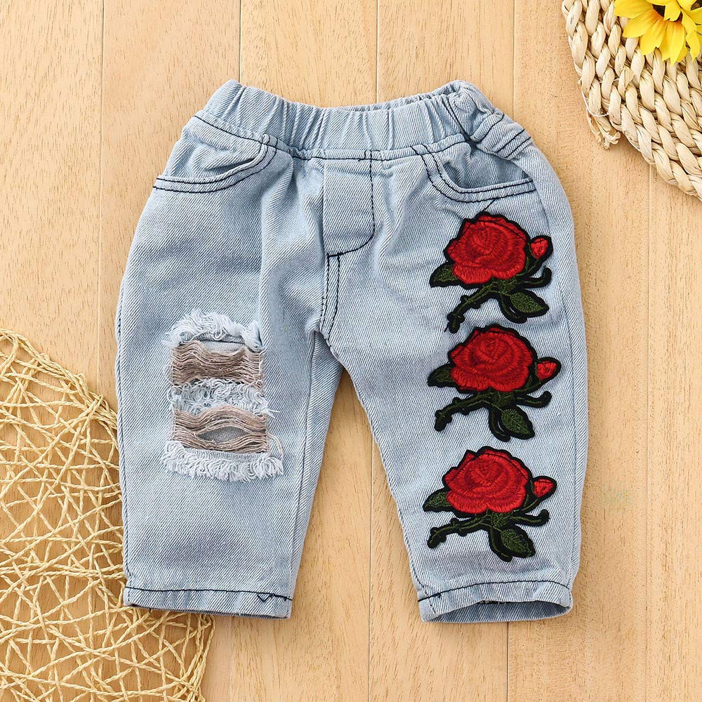 Kids Girls Solid Lace Long Sleeve Blouse Tops+Flower Ripped Jeans Pans WARMSHOP 2 PC Toddler Clothes Set