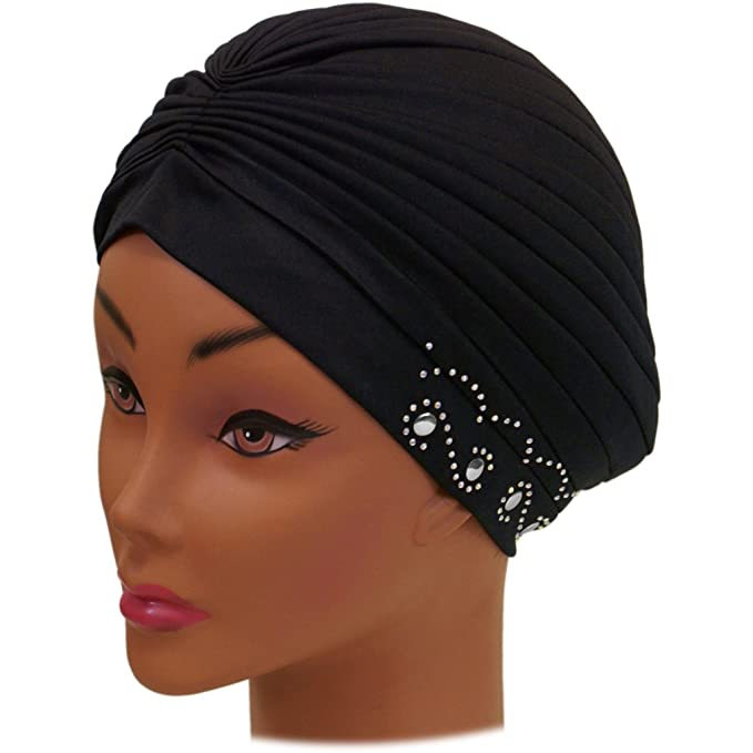 1940s Hair Snoods- Buy, Knit, Crochet or Sew a Snood SSK Beautiful Metallic Turban-style Head Wrap $10.98 AT vintagedancer.com