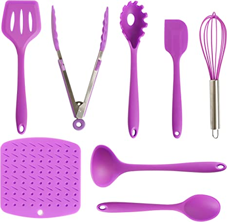Amazon Com Re Designed Silicone Kitchen Utensils Set 8 Piece Purple Cooking Utensil Tools Including Turner Tong Spagetti Spoon Spatula Whisker Ladle Large Spoon And Heat Resistant Mat Kitchen Dining