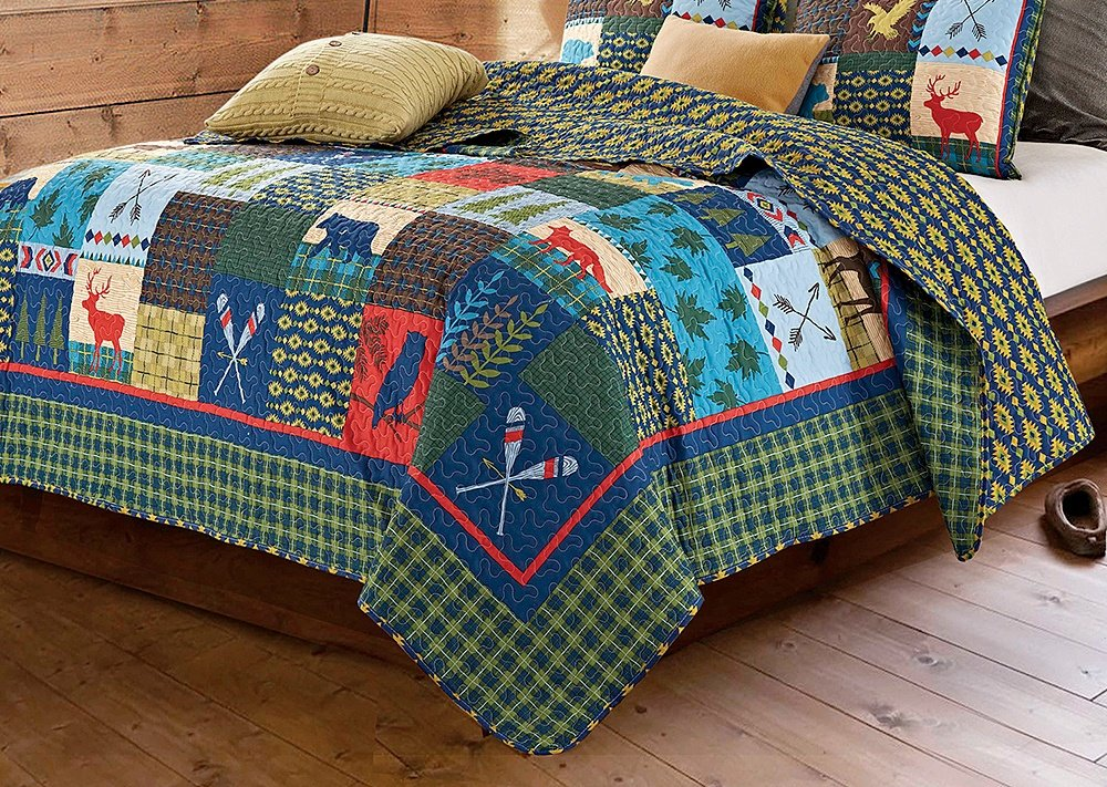 Duke Imports Lake & Lodge Rustic Patchwork Printed Quilt Set (King)