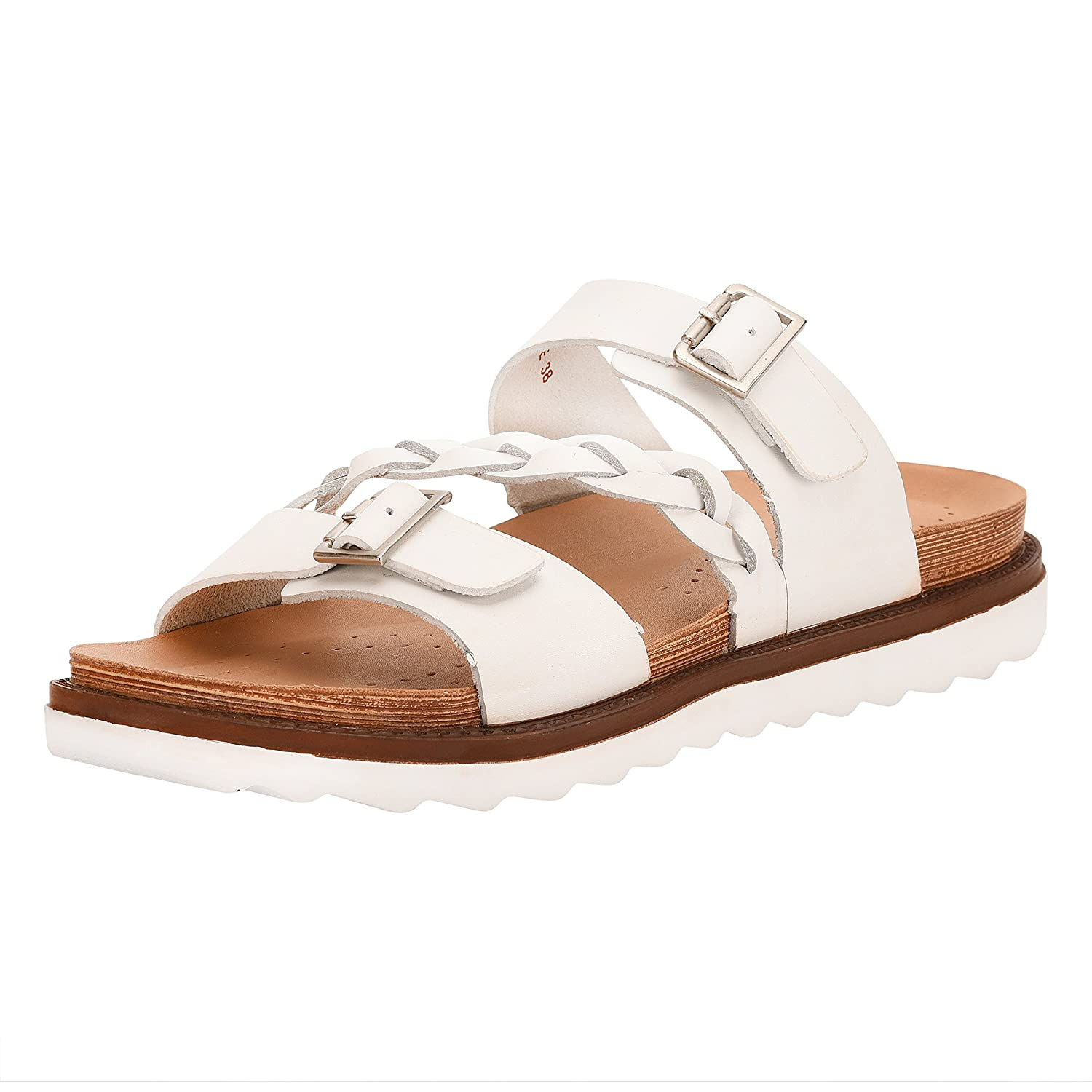 Liberty Women's Leather Slide On Sandals Double Strap Buckle Braided Platforms B07BWH3599 8 M US|Pearl White