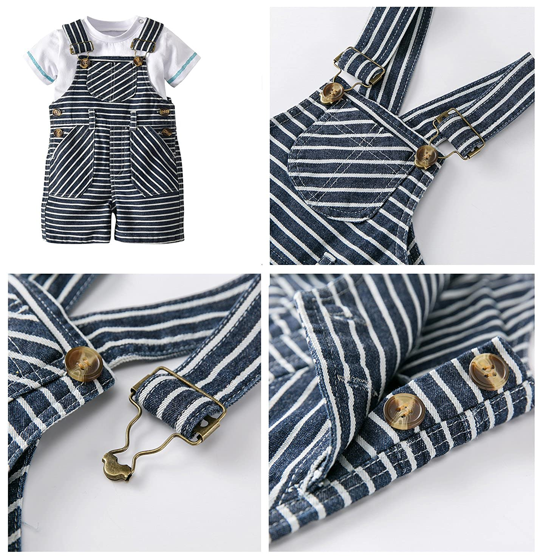 KUKEONON Baby Boys Summer Gentleman Tee Shirt+Stripe Suspender Shorts+Sun Hat 3pcs