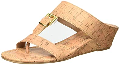 f6ebedce2df598 Rampage Women s Senorita Cork Demi-Wedge T-Strap Thong Sandal