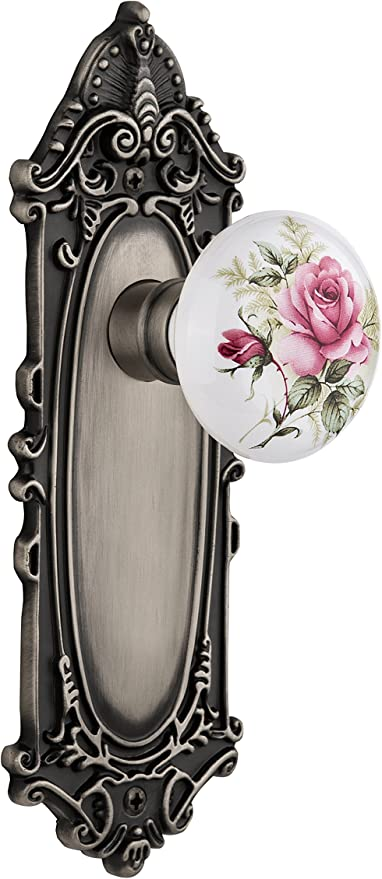 2.375 Nostalgic Warehouse Craftsman Plate with White Rose Porcelain Knob Antique Brass Privacy Privacy 2.375 715662