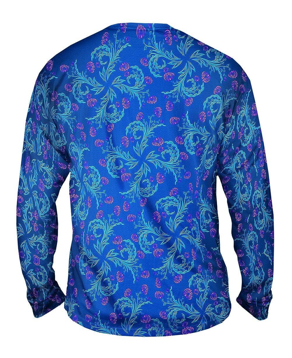 Garden Flower Blue Pink Foliage Pattern Mens Long Sleeve Tshirt Yizzam