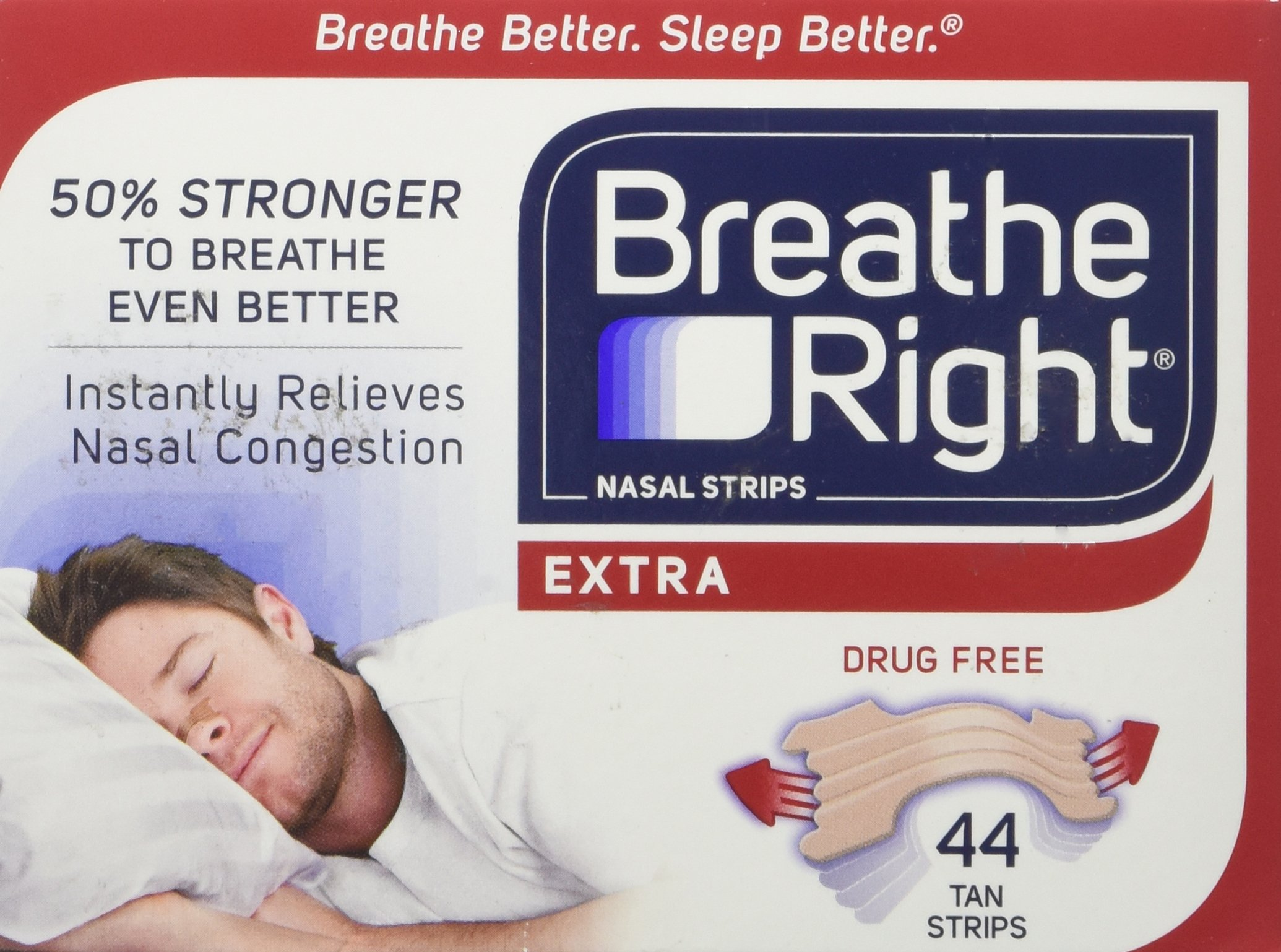 Breathe Right Extra Strong Nasal Strips One Size Fits All, Tan (44 ct) by Breathe Right