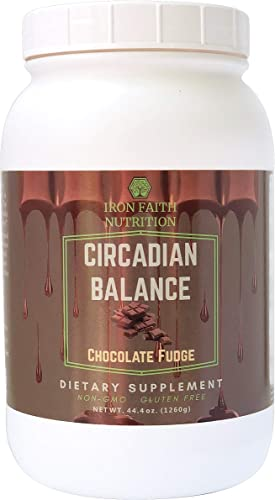 Iron Faith Nutrition Circadian Balance Chocolate Non-GMO Gluten Free Meal Replacement – Protein Blend 30g – Egg whey Isolate Organic Pea Plus Organic Fruits Greens Blend Digestive enzymes