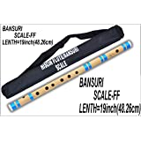 HISCIN Bamboo Natural Flute Bansuri Transverse Style for Deep Low Frequency Sonorous Notes (21-inch)