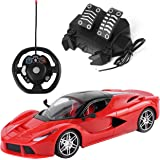 SumacLife 1:16 Scale Kid's Full Function Gravity Sensing Remote Controlled Red Exotic Aperta Super Race Car Simulation Experience RC Toy w/ Steering Wheel and Foot Pedals