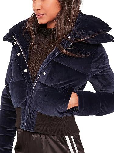 Simplee Apparel Women 's Zip raso acolchado Short Parka Jacket Crop acolchado abrigo abrigos