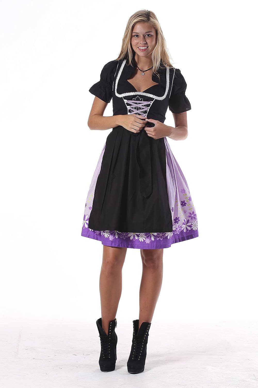 Oscartrachten, 3tlg. Dirndl-Set - Trachtenkleid, Bluse, Schürze - Dirndl midi schwarz-lila