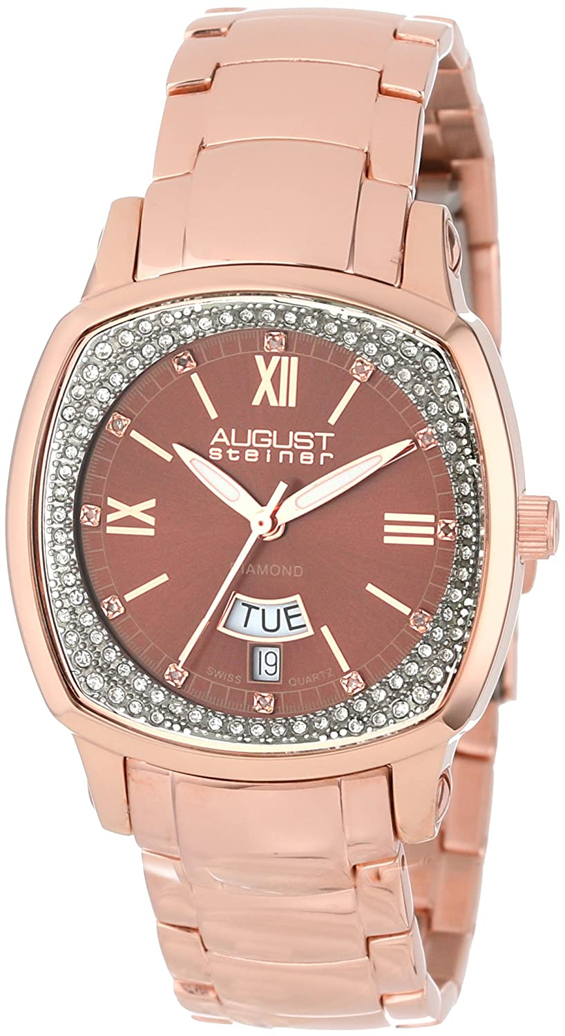 August Steiner Damen 's Day Date Diamond Swiss Quartz Armband Armbanduhr