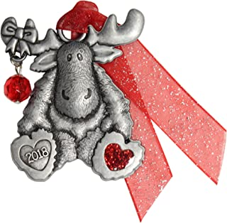 product image for Gloria Duchin Pewter Moose with Bead Christmas Ornament, Silver and Red