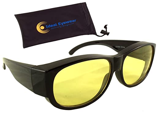 afb07e3cc807 Night Driving Fit Over Glasses by Ideal Eyewear - Wear Over Prescription  Glasses - Yellow Lens