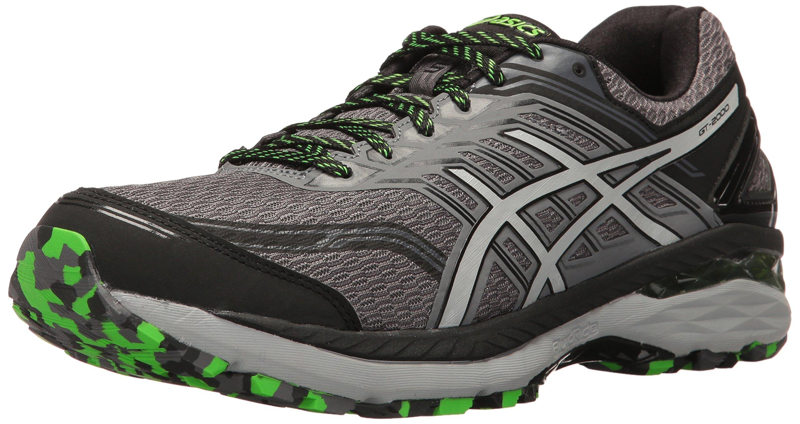 ASICS Men's GT-2000 5 Trail Runner, Carbon/Mid Grey/Green Gecko, 11 M US