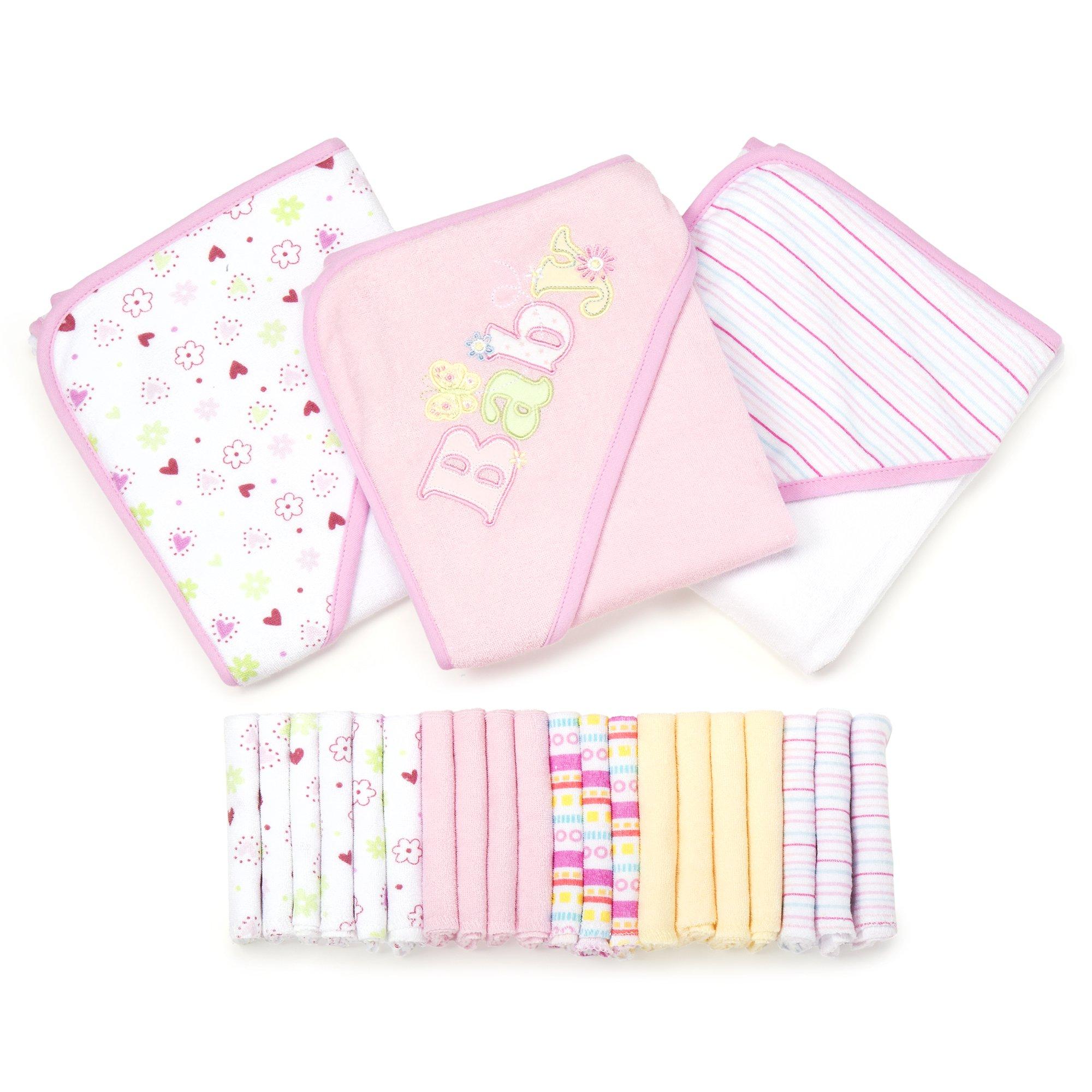 Spasilk 23-Piece Essential Baby Bath Gift Set, Pink
