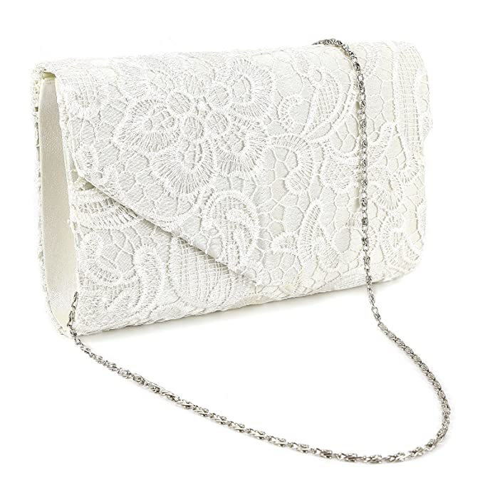 0addbac46f Women's Floral Lace Clutch Bag Evening Bridal Bag Wedding Fashion Prom  Vintage UK (Ivory White): Amazon.co.uk: Shoes & Bags
